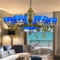 Европейский Средиземноморский синий 6 8 голов гостиной столовой хрустальная люстра Tiffany витражные ресторанные подвесные лампы