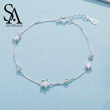 Женский браслет из серебра 925 пробы с шармами звездами