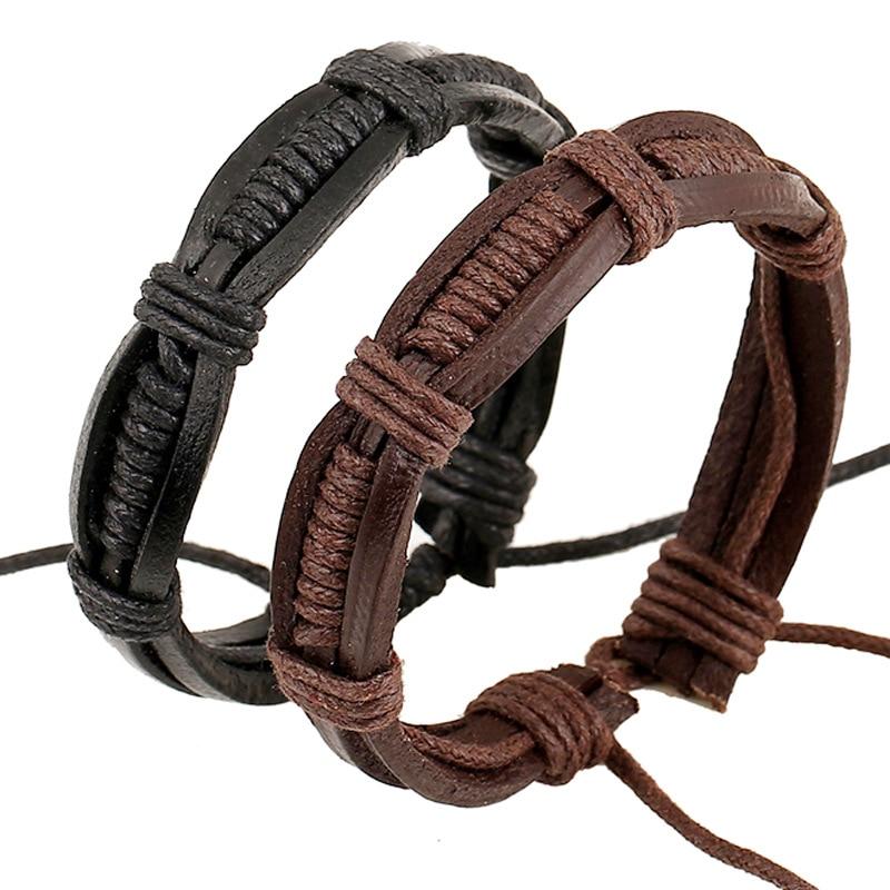 New Genuine Leather Bracelet Men Boys Leather Rope Bracelet Nice And Cheap Men Leather Bracelet Women Fashion Bracelet