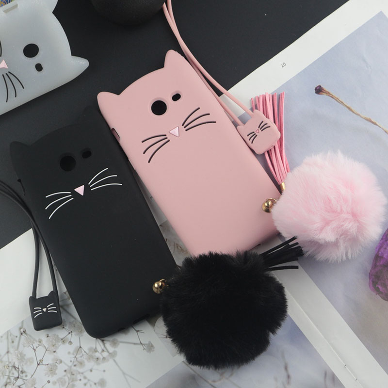 Cute 3D Cartoon Silicon Case for Samsung Galaxy J3 Prime Cases Japan Glitter Beard Cat Lovely Ears Kitty Phone Cover