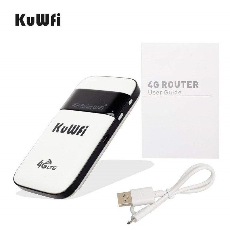 Image 2 - KuWFi 4 г LTE разблокированный wi fi роутер карман 3g/4 Мобильный Wi Fi точка доступа маршрутизатор с Sim карты слот для путешествий-in 3G/4G маршрутизаторы from Компьютер и офис