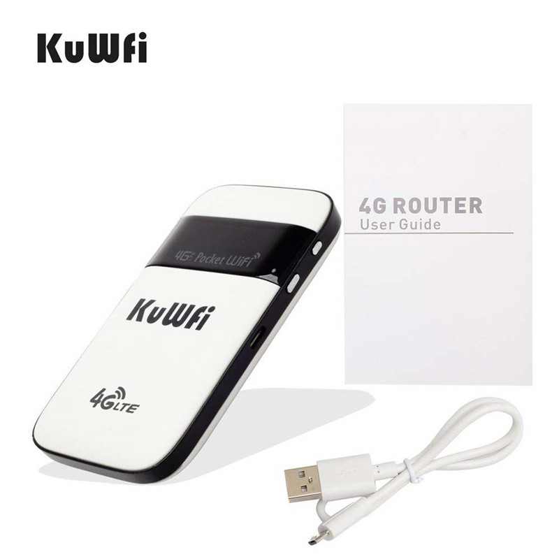 Image 2 - KuWFi 4G LTE WiFi Router Unlocked Pocket 3G/4G Mobile WiFi Hotspot 4G Router with Sim Card Slot for Travel-in 3G/4G Routers from Computer & Office
