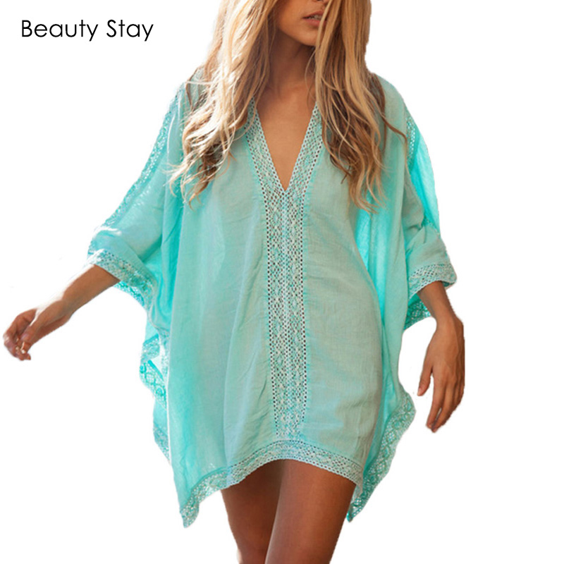 Beautystay Women Lace Collar Sexy Beach Dress Loose Plus Size Cotton - Ropa de mujer - foto 1