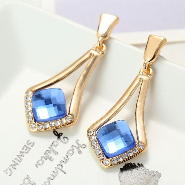 DLSHTMB Hot Sale Fashion Drop Earrings Indian Jewelry Women Big Long Square Earrings Gold Plated Dangle Drop Earrings For Women