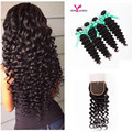 Peruvian Curly Hair With Closure Rosa Hair Products Human Hair with Closure Unprocessed 7A Virgin Hair 4 Bundles With Closure