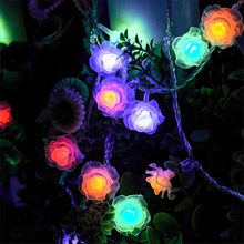 Battery Powered Rose Flower LED String Lights 5M 40leds Fairy String Lights For Wedding Garden Party Christmas Decoration(China)
