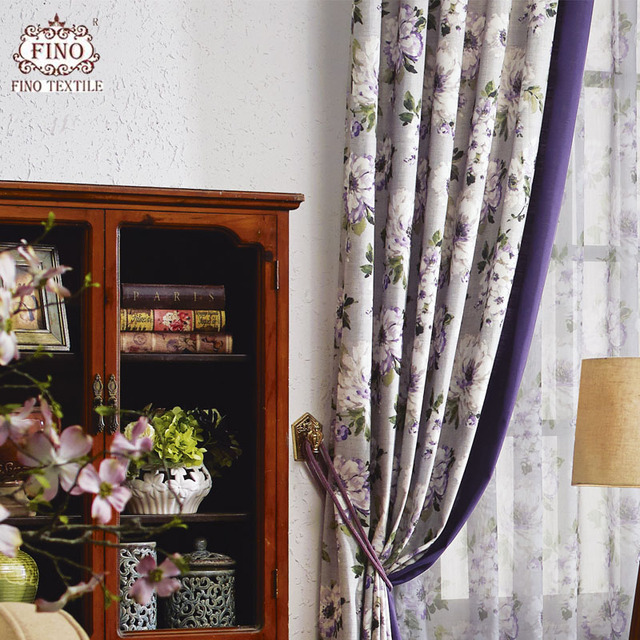 Purple Rustic Country Curtains Bedroom Ready Made Window Panel Living Room Luxury Print Fabric Drapes