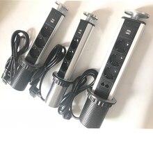 Power Plug ЕС Скрытая Кухня Таблица Pop Up электрической розетки Мощность 1 светодиод + 2 зарядки USB Алюминий полка Серебряный /черный Кепки
