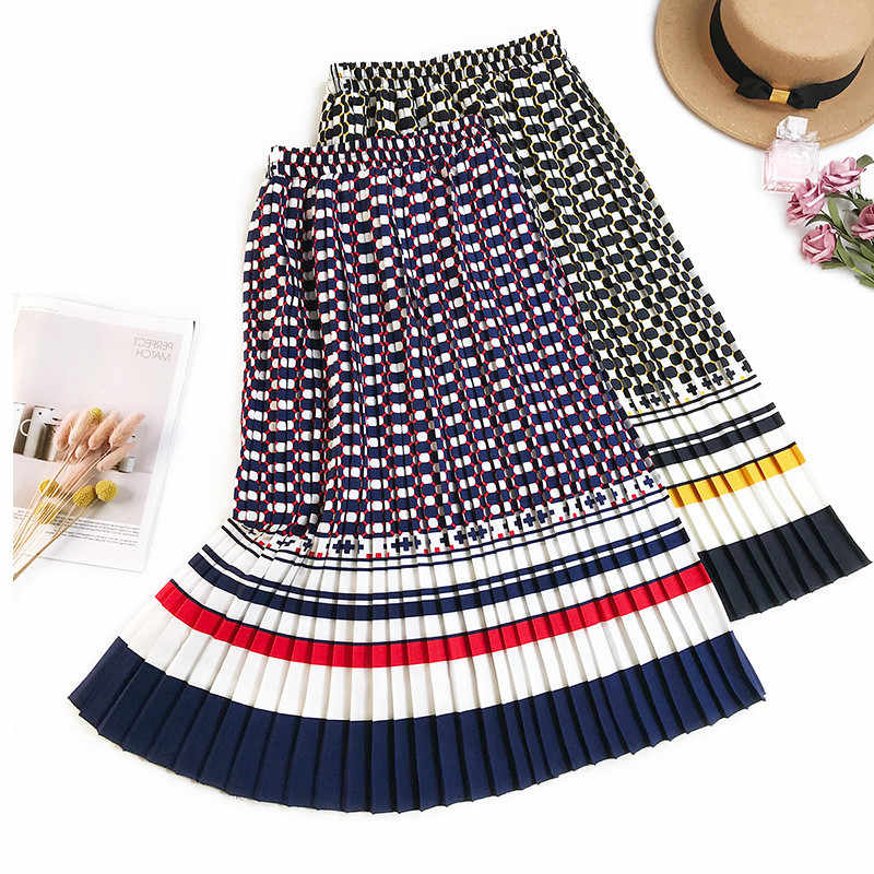 24afe98b8ce AcFirst Europe America Women Skirts Fashion High Waist Pleated Mid-Calf  Long Skirt Clothing Empire
