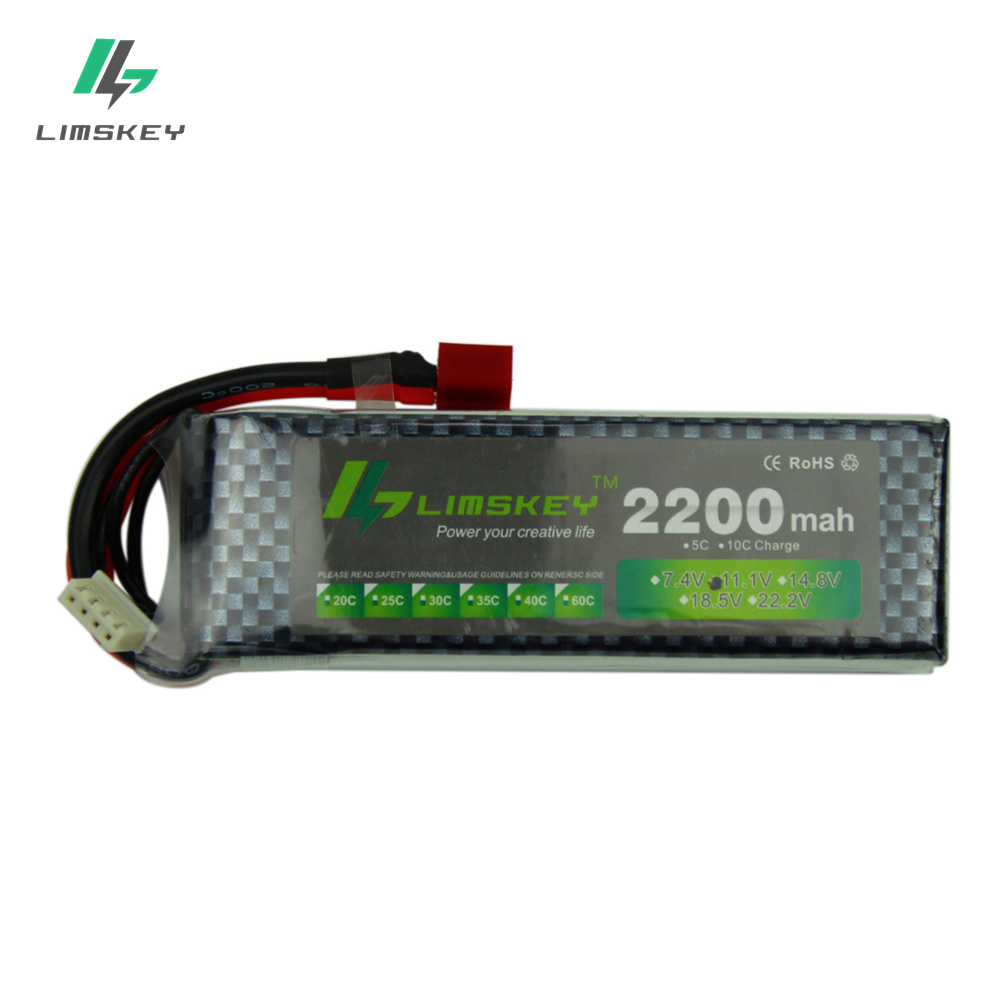 Limskey Power Brand New Lipo Battery 11.1V 2200mAh 25C MAX 35C 3S T Plug for RC Car Airplane T-REX 450 Helicopter Part 11.1 v