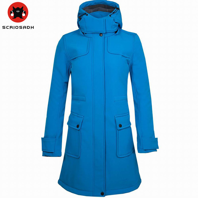 28847cce7 Winter Warm Camping Long Coat Women Waterproof Jacket Windbreaker Soft shell  Thermal Hiking Jacket Trekking Sports