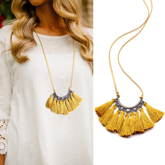 Vintage Leather Rope Tassel Pendant Necklace