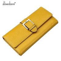 Zuoerdanni Womens Long Solid Genuine Leather Wallet Envelope Wallet