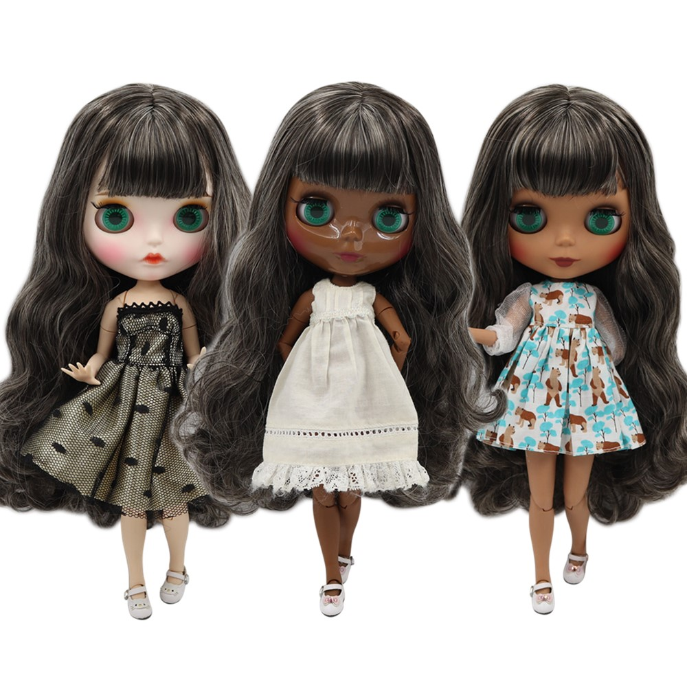 ICY factory blyth doll NO BL950 313 30cm customized nude doll with black mixed hair joint