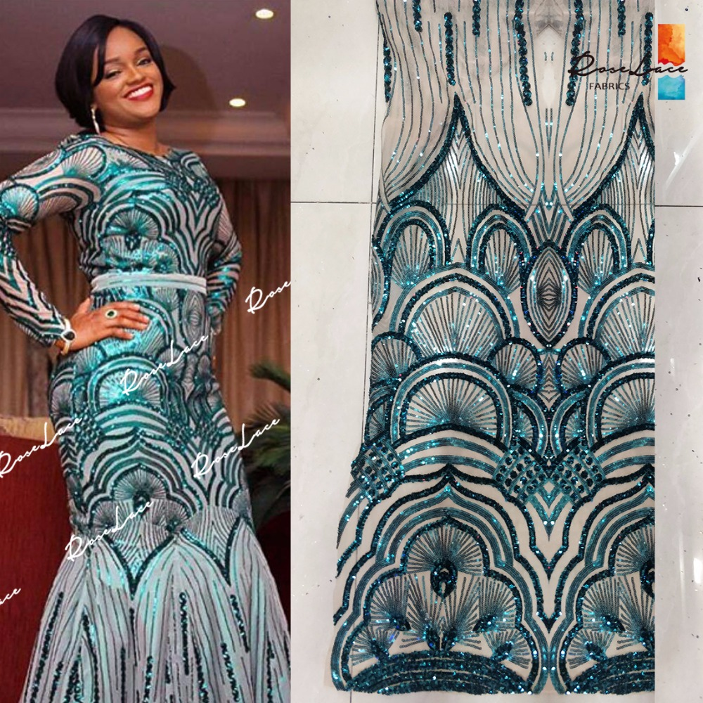 2017 New Fashion Sequined Designer Lace Fabric Green Nigerian Evening Prom Women Dress Lace Embrodiered Sequins
