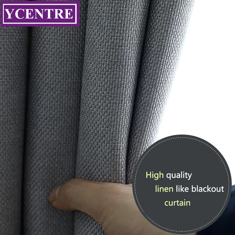YCENTRE Faux Linen 70%-85% Shading Custom Made Insulating Modern Style Solid Color Blackout Curtain For Living Room Window(China)