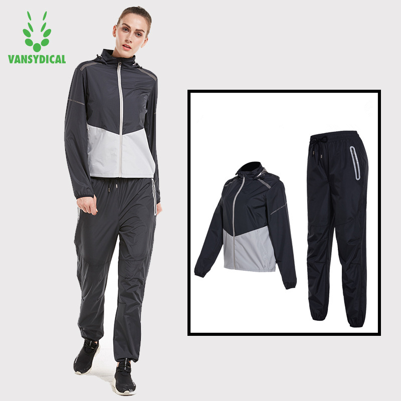 цена на Vansydical Hot Sweat Sports Suits Women's Gym Yoga Running Jacket Pants Set Lose Weight Fat Burning Jogging Sweating Sportswear
