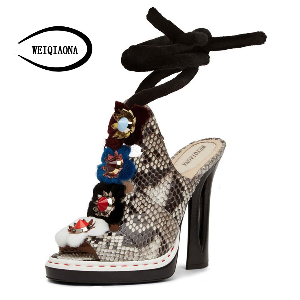 WEIQIAONA European 2018 women New fashion show leather snake skin rhinestone flowers high heel sandalss Sexy Ladies Party shoes yuanyu 2018 new hot free shipping real python skin snake skin color women handbag elegant color serpentine fashion leather bag