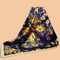 "Huajun | | nova marca cachecol borboleta ""flor"" 90 sarja de seda lenço de seda 100% amoreira impressão cachecol xale"