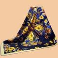 "Huajun || new brand scarf ""butterfly flower"" 90 silk scarf 100% mulberry silk twill scarf printing shawl"