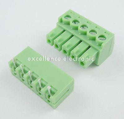10 Pcs 3.81mm Pitch 5 Pin Angle Screw Pluggable Terminal Block Plug Connector pluggable terminal blocks 3 pos 10 16mm pitch plug 18 6 awg screw