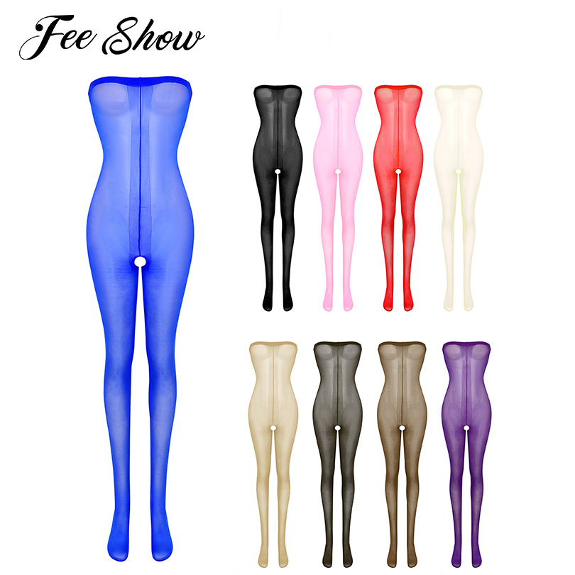 Women's Lingerie Bodystocking Bodysuit Shiny Thickness Chemises Babydolls Stretch Full Footed Crotchless Body Stocking Pantyhose