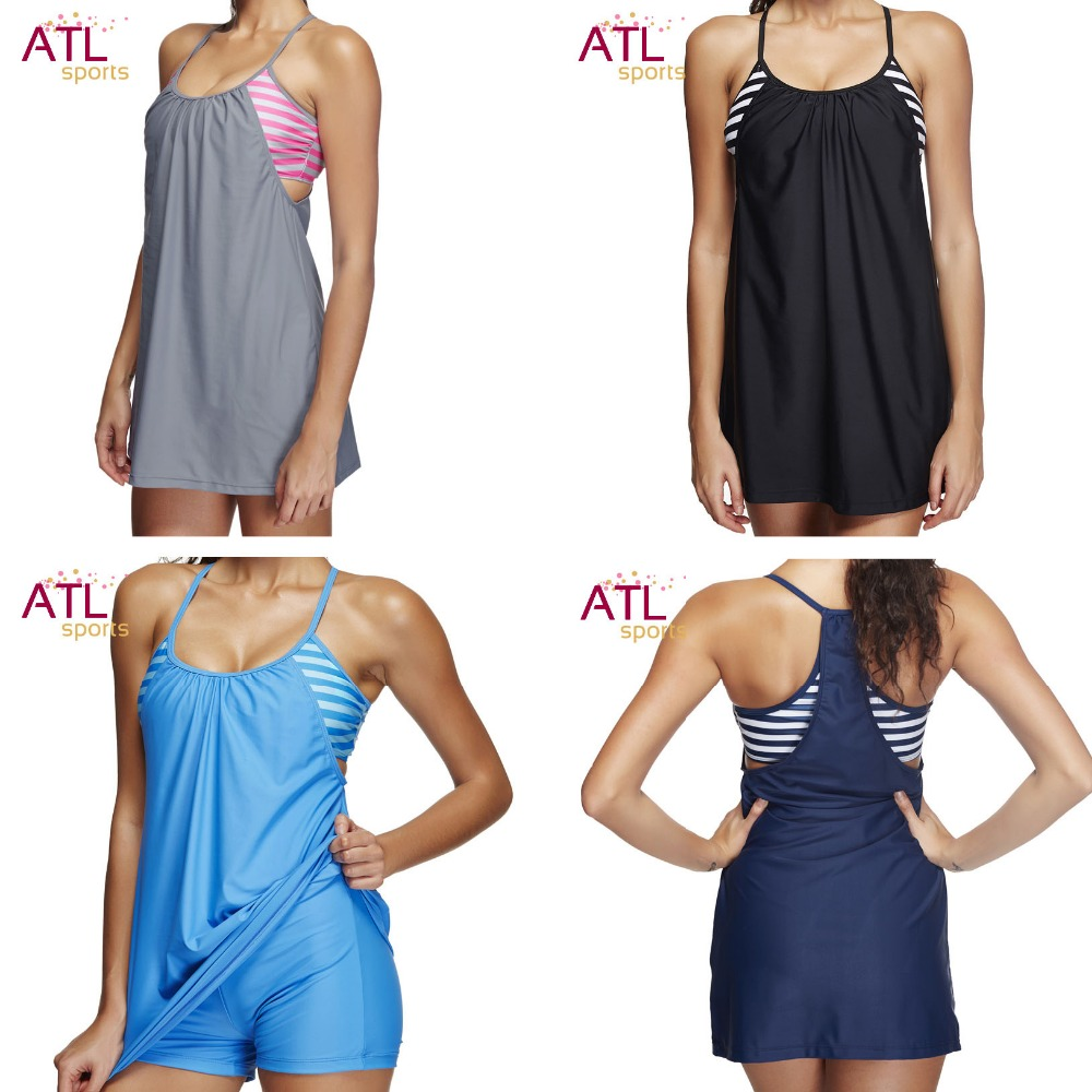 Large Size Swimwear Female Black Striped Swimsuit Solid Bathing Suit 2018 Shorts Tankini Set Swim Suit Mayo Women Beach Dress