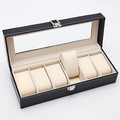 1pc New 6 Grid Jewelry Watch Bracelet Display PU Leather Storage Holder Box Case