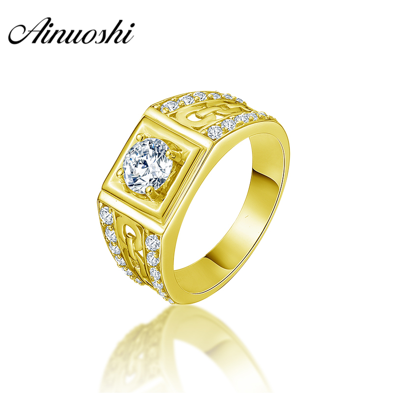 купить AINUOSHI 10K Solid Yellow Gold Men Ring 2 Rows Drill Geometric Ring Engagement Wedding Men Jewelry 5.3g Exquisite Wedding Band