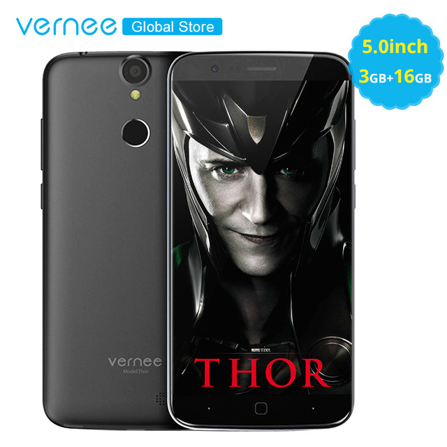 """Vernee Thor 5.0"""" On-Cell Display 3GB RAM 16GB 4G MobilePhone MT6753 Octa Core 2800mAh Android7.0 OTG 13MP Fingerprint Cellphone"""