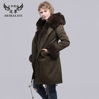 BEIKALIDI Women Real Rex Rabbit Fur Parkas Real Fur Inner Winter Jacket Coat With Real Raccoon Fur Collar Hooded Female Overcoat