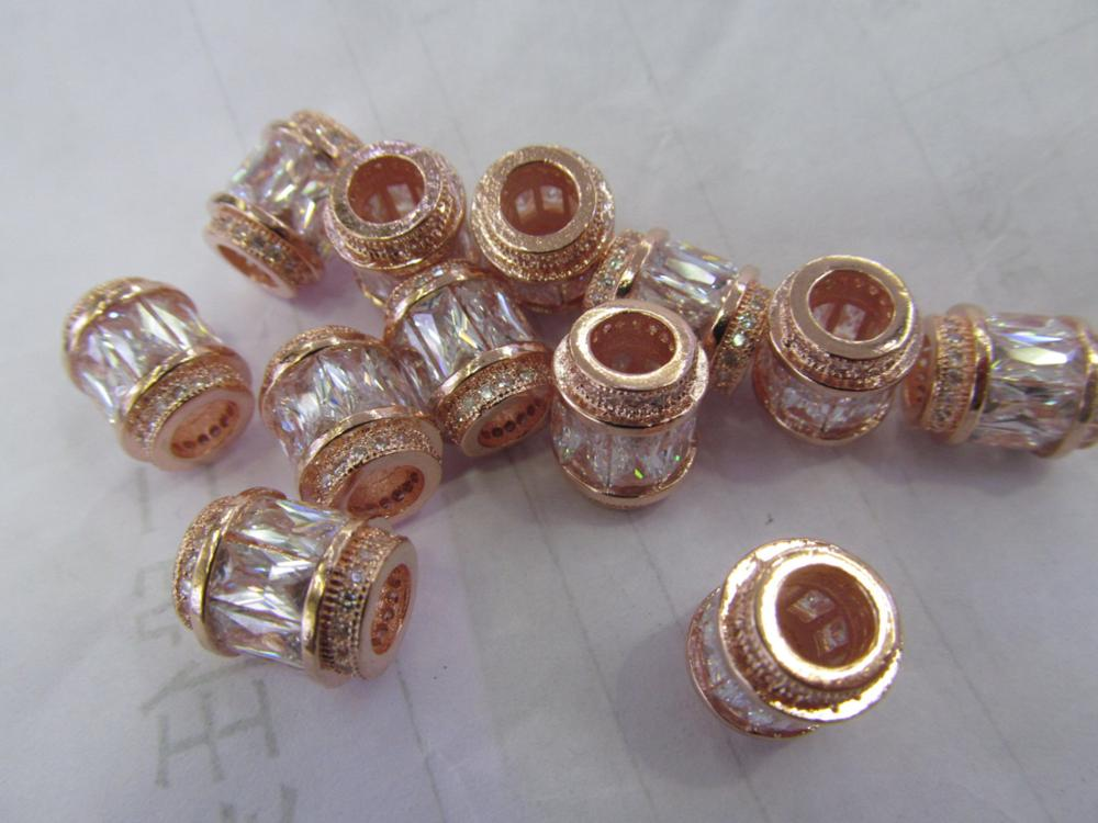 AAA GRADE 12pcs 10x15mm Micro Pave cubic zirconia beads Rice Barrel Drum silver gold gunmetal rose gold charm connector 12pcs 10x15mm micro pave diamond cubic zicronia drum tube black jet gunmtal connector beads cz pave