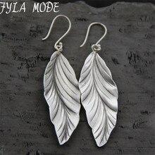 925 Thai Silver New Design Style Fashion filigree Charm Elegant Simple Vintage Big Leaf Earrings Drop Jewelry Women