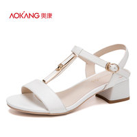 AOKANG 2017 Women Summer Shoes Genuine Leather Shoes Fashion Summer Women S Sandals Women High Heels