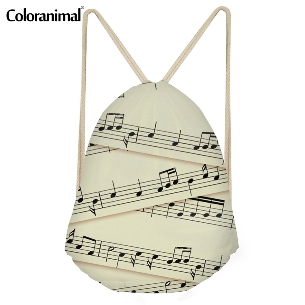Coloranimal Daily Drawstring Backpack For Women Men Fashion Fitness Shoulder Bag Sheet Music Notes Print Mini Yoga Shoes Bagpack