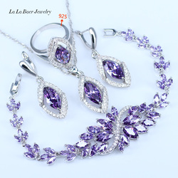 L&B Best Birthday Gift CZ Elegant Design Austria Crystal Stone Purple 4 Piece 925 Sterling Silver Jewelry Sets For Women