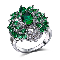 Original Boutique Fashion Big Rings For Women AAA Cubic Zirconia Wedding Jewelry Gold Plated Natural Stone