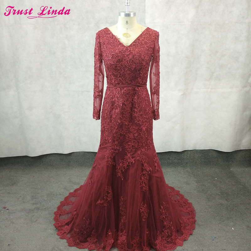 Burgundy Lace Appliques Long Sleeves Mermaid Mother Dresses V Neck Beaded Party Dress Plus Size Prom Gowns 2018 Custom Made
