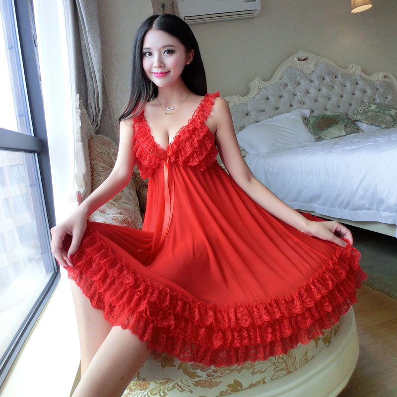 1f8b728b4c Mulheres camisolas de Cetim Lace Pijamas roupa de dormir de Pijama Mulheres  lar roupa sleepwear feminino Camisola lingerie sexy Vestido de Túnica