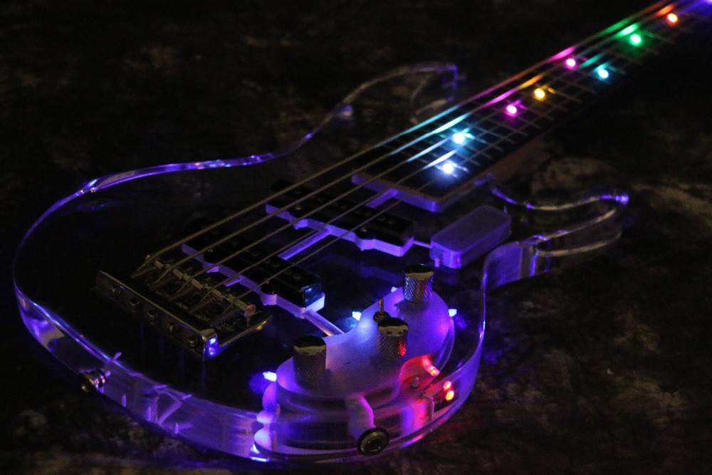 Instock Starshine SR-BBS colorful crystal style 5 /4 strings electric bass guitar led light acrylic body and headstock
