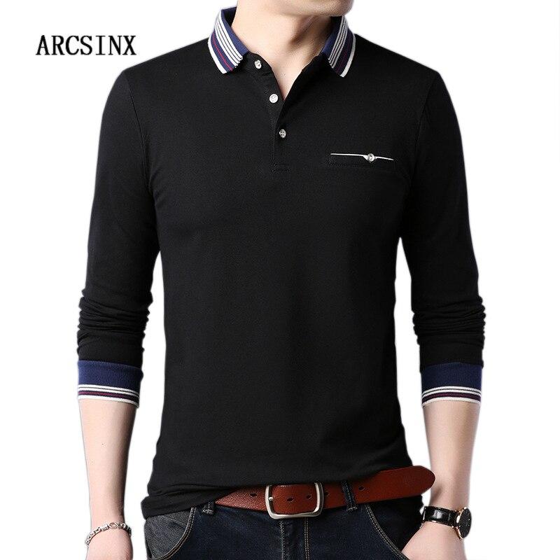 ARCSINX Black   Polo   Men Autumn   Polo   Shirt Men Long Sleeve Casual Brand   Polo   Man Spring Social Men's   Polos   Slim Fit Cotton Jersey