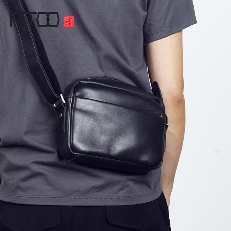 AETOO Men s head cowhide shoulder bag leather bag male and female crossbody bag single shoulder