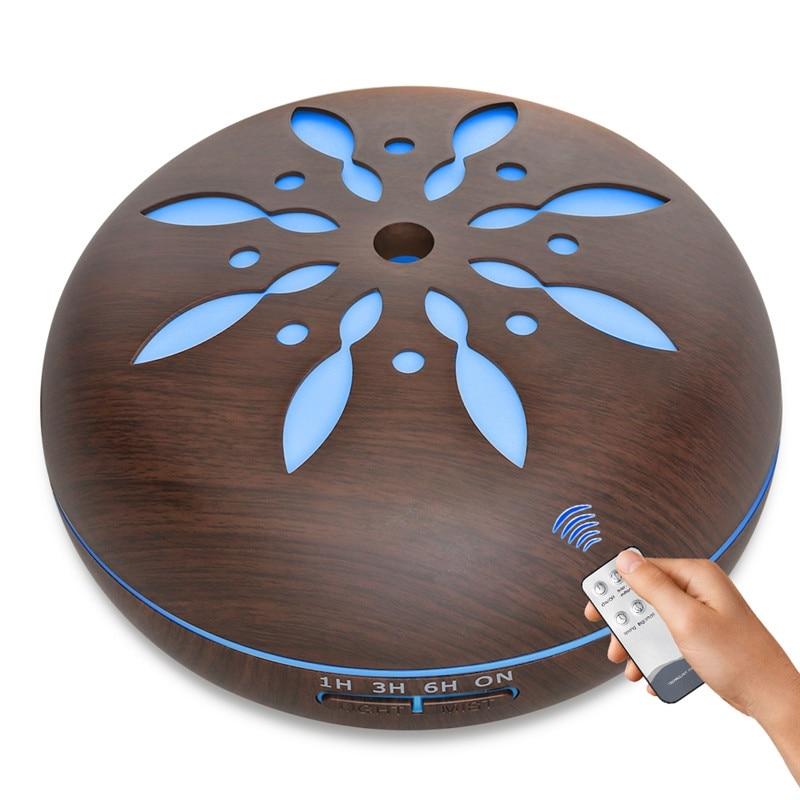 2018 nuevo diseño difusor de Aroma a Control remoto con 7 colores cambiantes luz LED ultrasónico vapor fresco aceite esencial humidificador