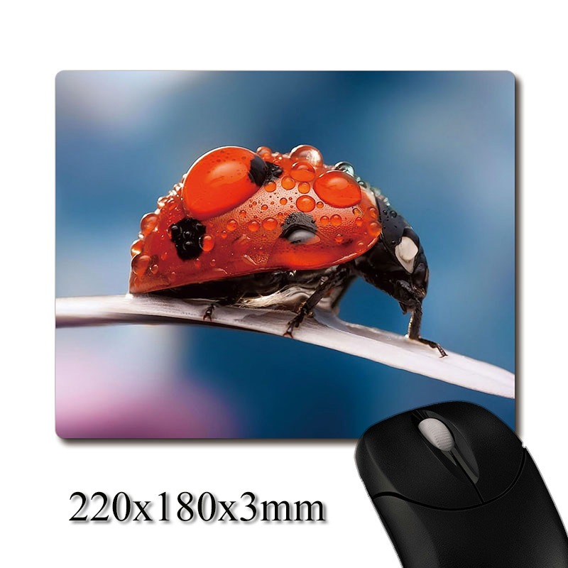 ladybird with dew on blades of grass printed Heavy weaving anti-slip rubber pad office mouse pad Coaster Party favor gifts
