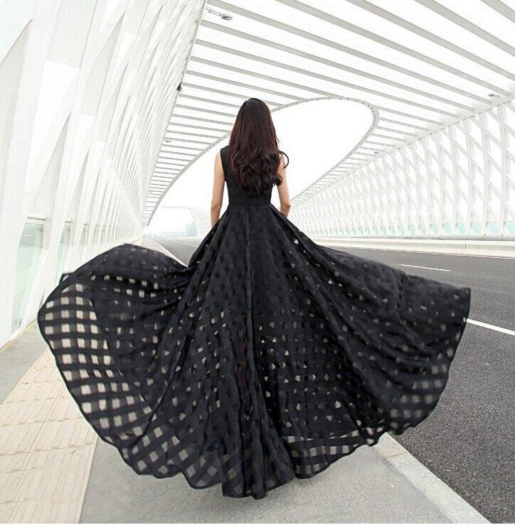 E Casual Lungo Delle Del Estate Nero Maxi Elegante Organza Vestido Lunghezza bianco Europeo Pavimento Slim 2017 Modo Fit Donne Di Vestito nAEw4060q