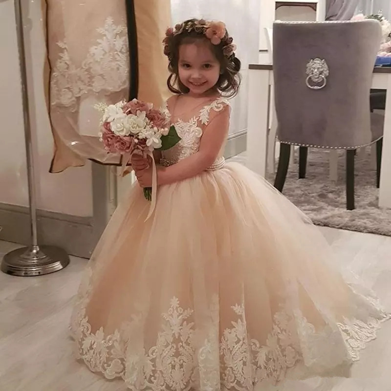 Champagne Ball Gown Flower Girls Dresses For Weddings Sheer Neck Cap Sleeves Appliques Tulle Tutu Infant