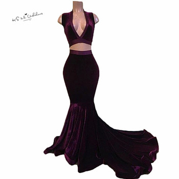 Red Burgundy Women Pageant Formal Evening Gowns Robe de Soiree Velvet Winter Mermaid Prom Dresses Two Piece Tank Sweep Train