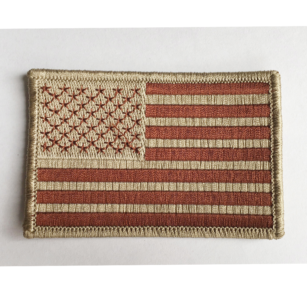 US FLAG EMBROIDERED DESERT TAN SHOULDER BADGE PATCH-34034
