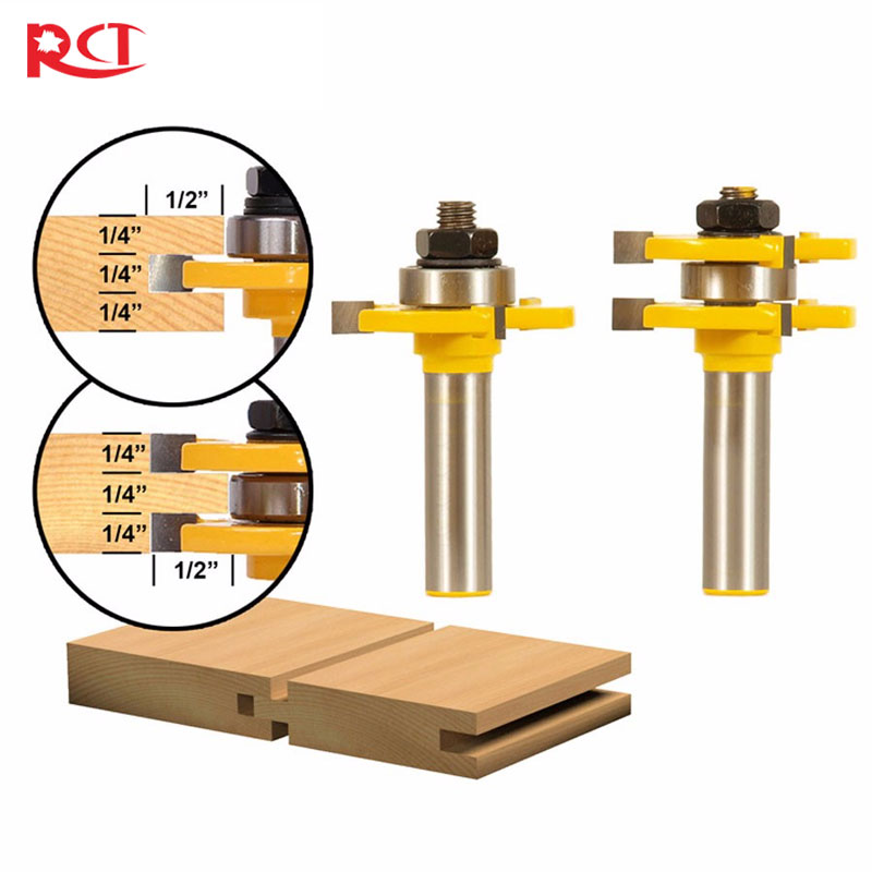 """1/2\"""" Shank Matched Tongue and Groove Router <font><b>Bit</b></font> Set Wood Milling Cutter flooring knife"""