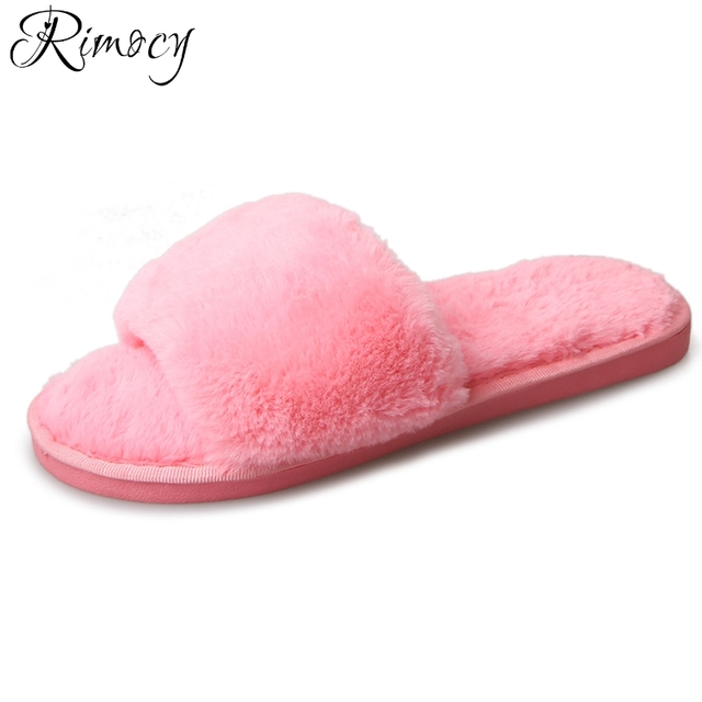 b9448923a720f Rimocy women soft fur home wear fuzzy slippers comfortable ladies warm  plush flat heels slides fashion indoor flip flops woman